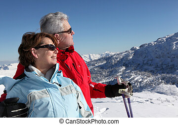 couple, vacances, ski