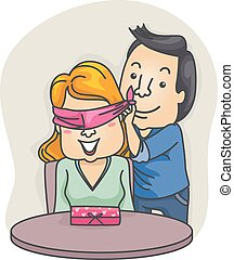 Couple Valentine Gift Surprise Blindfold Woman