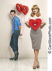couple, valentine, jeune, marques