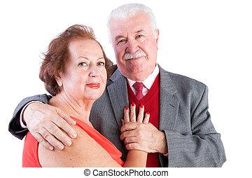 couple, valentines, personnes agées, aimer