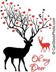 couple, vecteur, cerf, rouges, cœurs