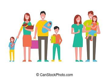 couple, vecteur, illustration, famille, enfants