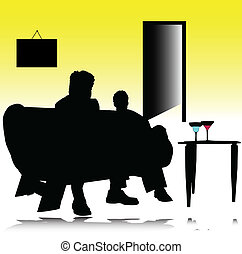 couple, vecteur, silhouettes, boisson