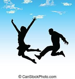 couple, vecteur, silhouettes, sauter