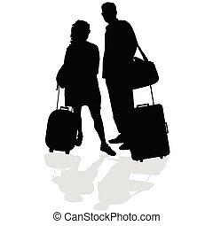 couple, vecteur, valise