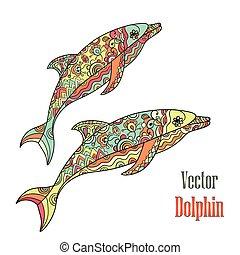 couple., vector., dauphins