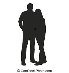 Couple vector silhouette. Hugging people
