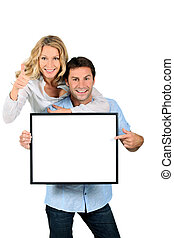 couple, vide, excité, pointage, signe