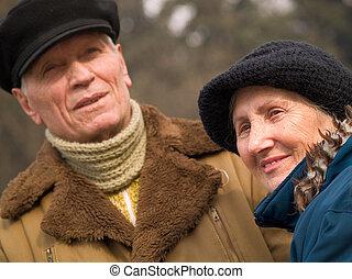 couple, vieux, aimer