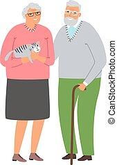 couple, vieux, chat