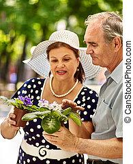 couple, vieux, flower., heureux