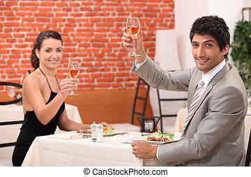 couple, vin, boire, restaurant