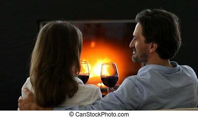 couple, vin, boire, romantique