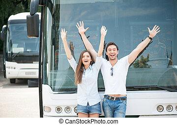 couple, voyager, joli, transport commun, aimer