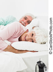 Couple waking up