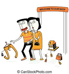 Couple Walk in a Shop