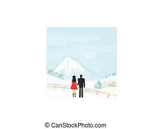couple walk on a winter day