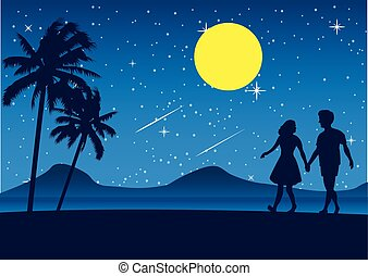 couple walk on beach at night, romantic scene sea nearby palm tree and full moon star