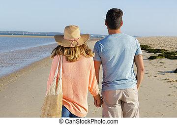 couple walking along the sea shore
