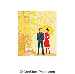 couple walking in autumn day