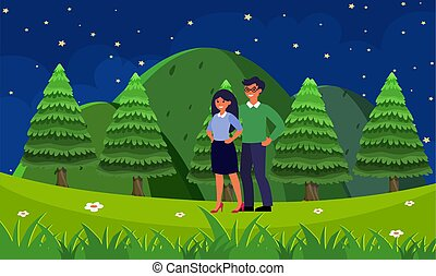 couple walking in the garden in the evening