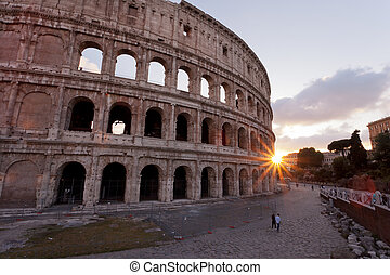 Couple walking near the Colosseum