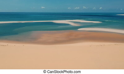Couple Walking on Beach Sand and Vivid Blue Sea Panorama