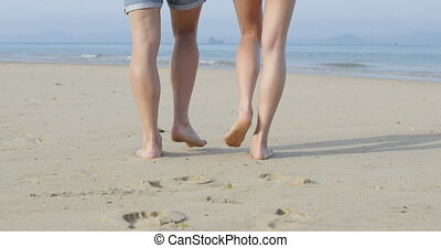 Couple Walking On Beach To Sea, Legs Closeup Back Rear View,...