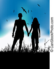 Couple walking on summer meadow, black silhouette