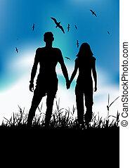 Couple walking on summer meadow, black silhouette