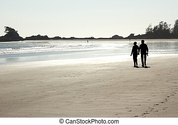 Couple walking on the beach 2
