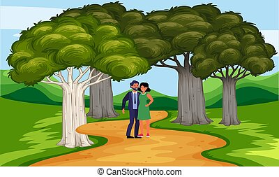 couple walking on the road in the garden