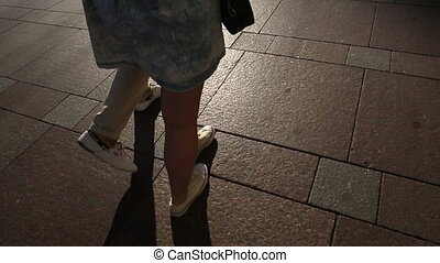 Couple walking on the street