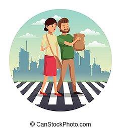 couple walking street shopping bag urban background