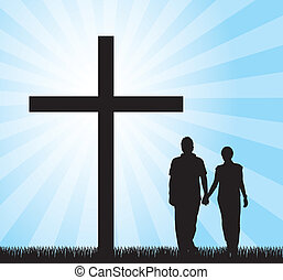 couple walking to the cross over sky background. vector
