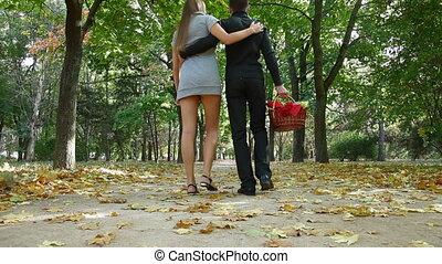 Couple walking with basket