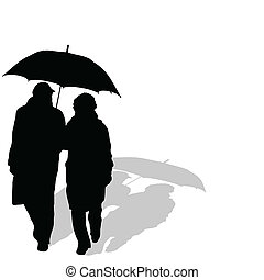 couple walking with umbrella art vector silhouette
