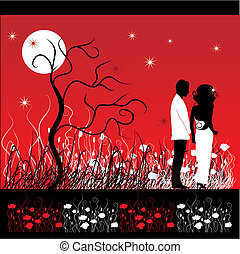 Couple walks on a flower meadow at night