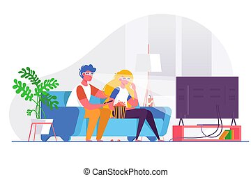 Couple watching 3d movie on big TV.