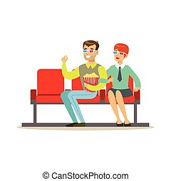 Couple Watching A Movie With Popcorn And 3D Glasses, Part Of Happy People In Movie Theatre Series