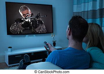 Couple Watching Film