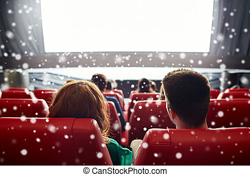 couple watching movie in theater or cinema - cinema,...