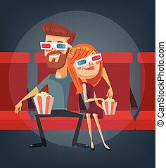 Couple watching movie. Man and woman characters. Vector flat cartoon illustration