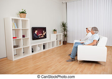 Couple watching romantic television