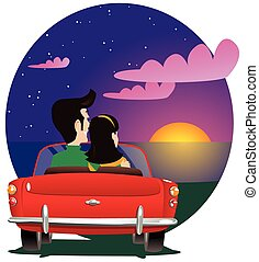 Couple watching sunset in auto
