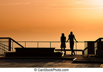 Couple watching the sun set.
