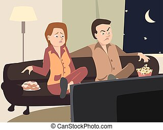 couple watching tv with different emotions