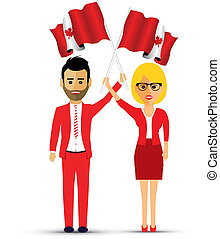 couple waving canadian flags