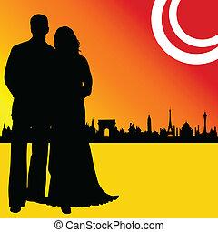 couple wedding and illustration of city