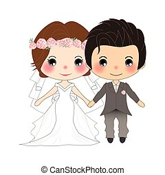 Couple Wedding. Cute Woman in Bride Dress and Handsome Man in Groom Tuxedo. Vector. Illustration.
